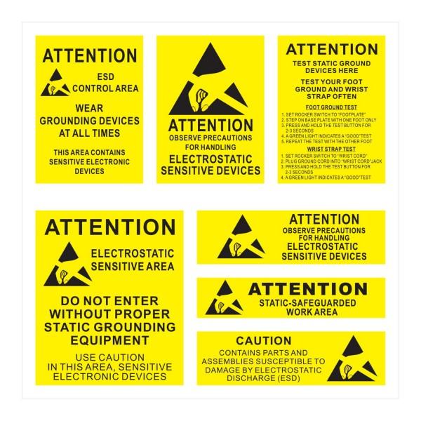 Aufkleber Bogen mit internationalem ESD Warnung