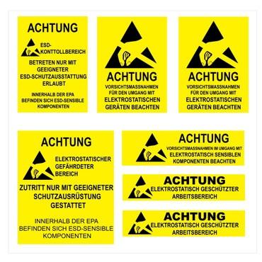 Aufkleber Bogen mit deutschen ESD Warnhinweisen
