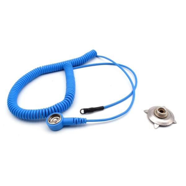 ESD Spiralkabel 1,8m Kralle 10mm Knopf 4mm Ring