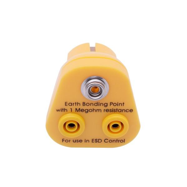 ESD Erdungsstecker 2xBananenbuchse, 1x10mm Knopf